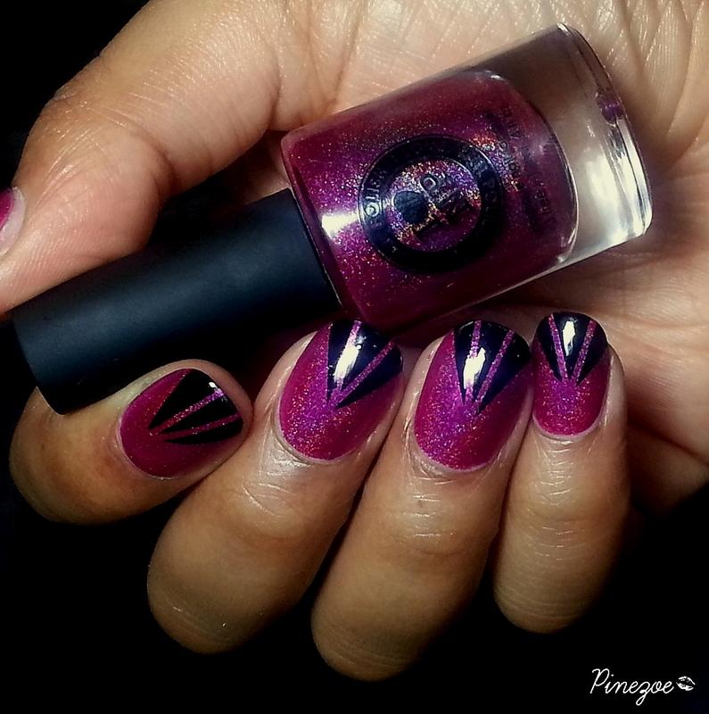 Holo & Striping tape nail art by Pinezoe