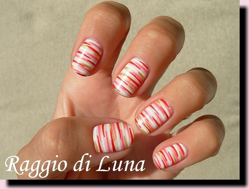 Horizontal red & pink & white & golden lines on light pink nail art by Tanja