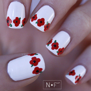 Poppies for Remembrance Day nail art by NerdyFleurty