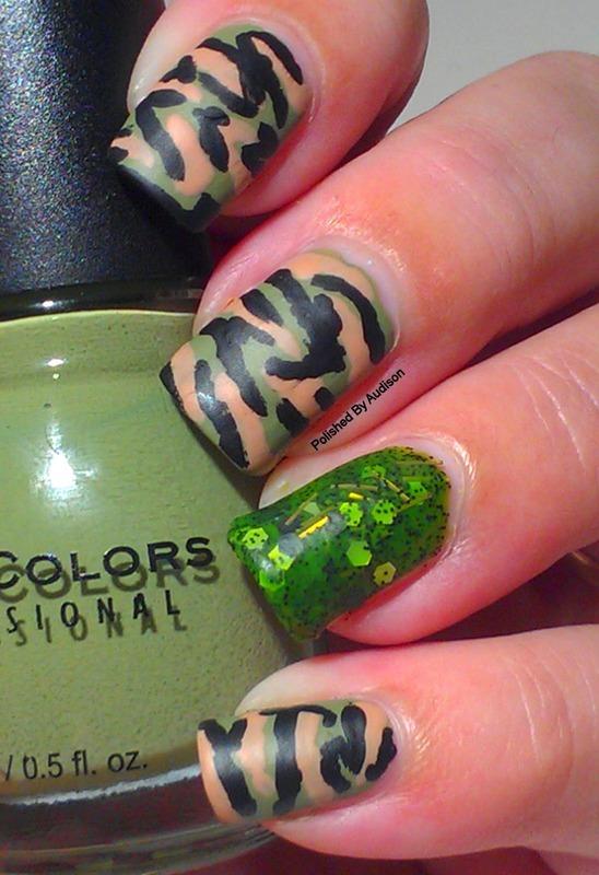 Veterans Day Camouflage Nail Art nail art by Ashley Hoopes