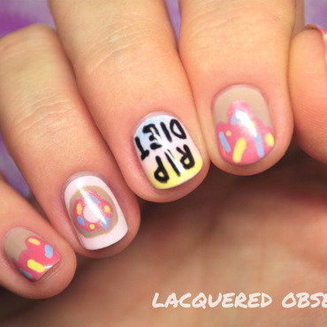 RIP DIET nail art by Lacquered Obsession