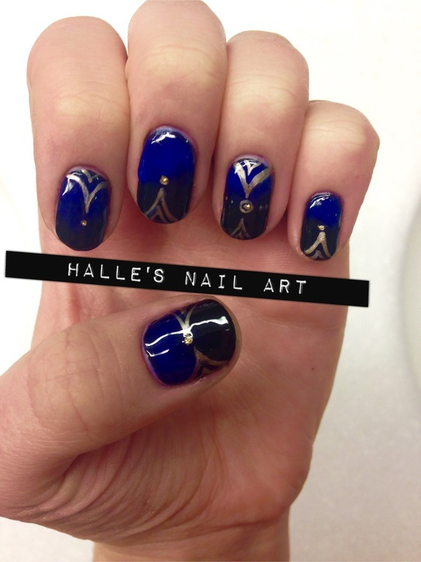 Gilded Gradients nail art by Halle Butler