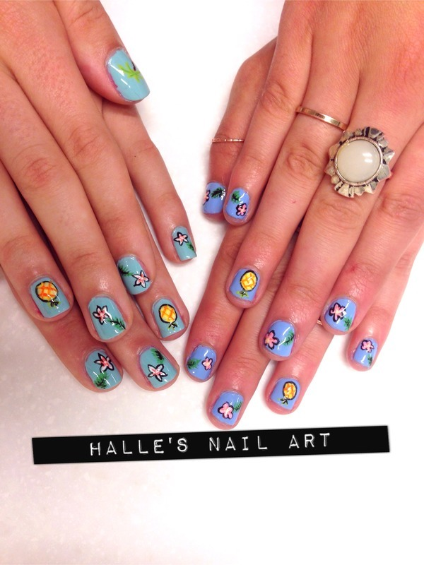 Tropicool nail art by Halle Butler