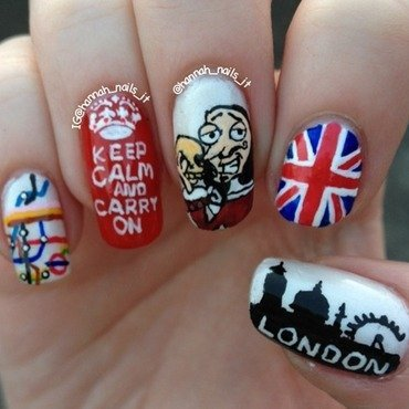 London Calling nail art by Hannah