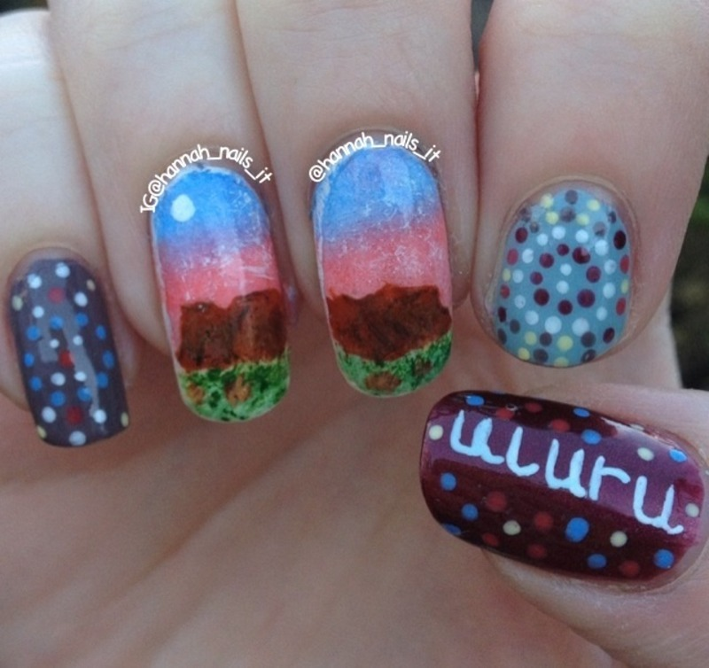 The Red Centre nail art by Hannah