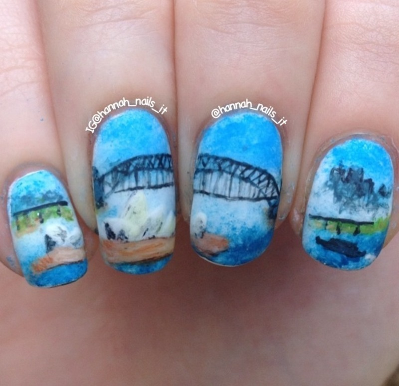 Sydney Harbour nail art by Hannah