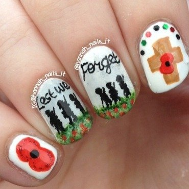 Lest We Forget nail art by Hannah