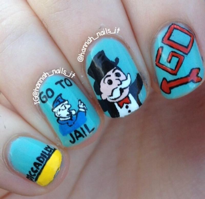 Monopoly Mani nail art by Hannah