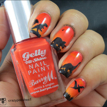 Dino at Sunset nail art by CrazyPolishes (Dimpal)