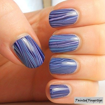 Vertical stripes water marble nail art by Kerry_Fingertips