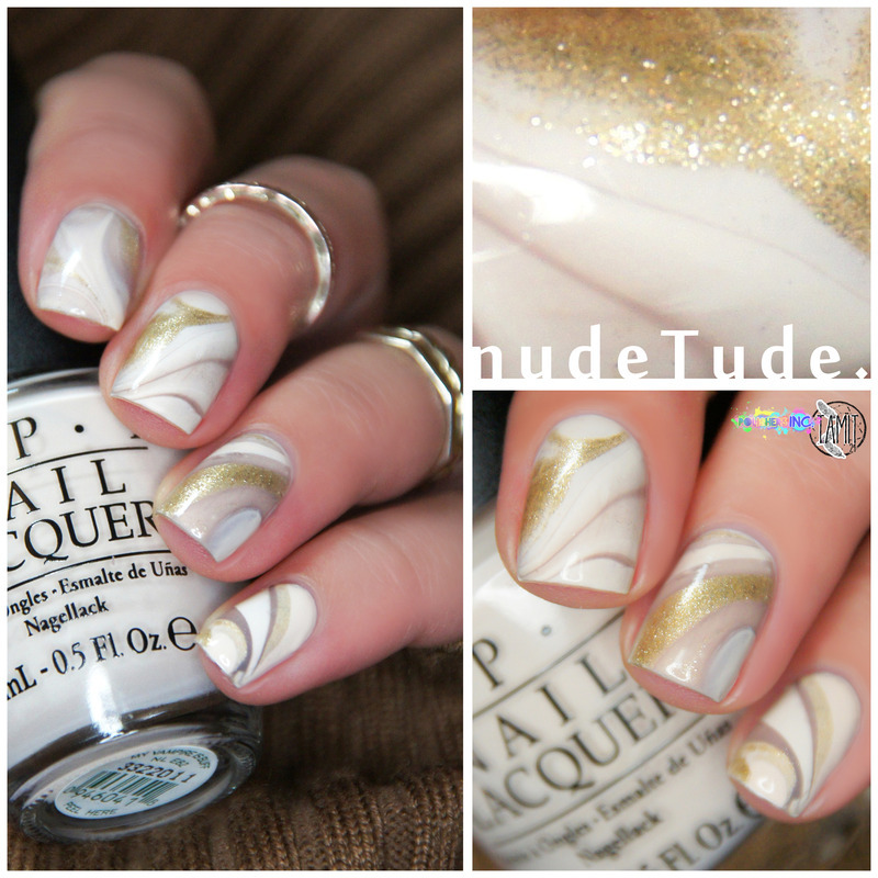 nudeTude watermarble nails. nail art by Paulina