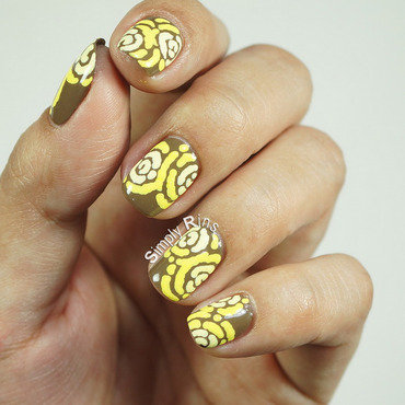 Merry Go Yellow nail art by Rina Alcantara