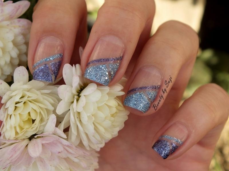 Geometric Blue & Violet nail art by Suzi - Beauty by Suzi
