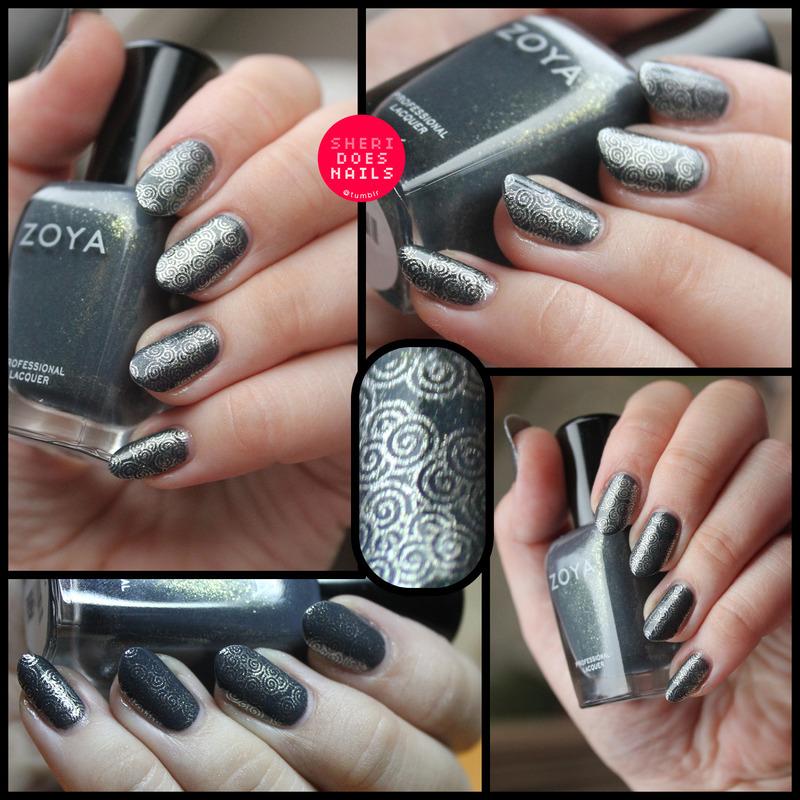 Yuna Stamping nail art by moon doggo