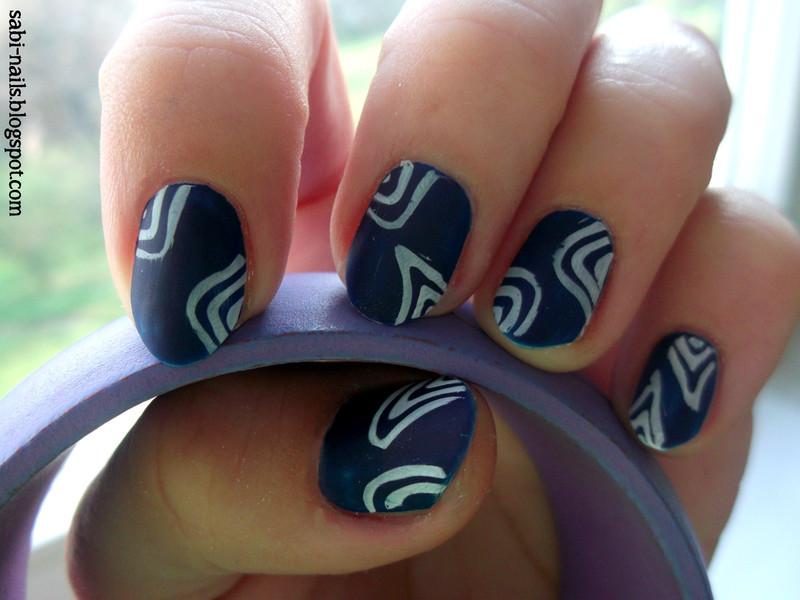 Dark blue nail art by Sabina