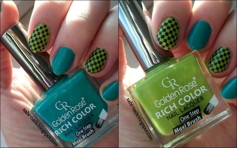 Green mix nail art by Sabina