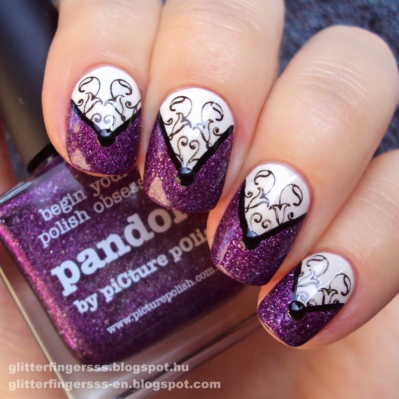 Purple Shimmer Arabesque Stamping Nails nail art by Born Pretty