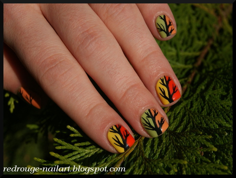 colorful trees nail art by RedRouge