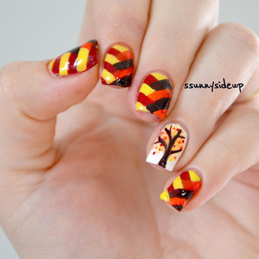 Fall inspired bestie twin nails nail art by ssunnysideup (Sabrina)