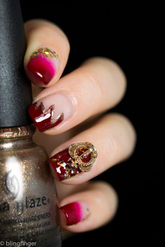 Crown Charm nail art by  Petra  - Blingfinger