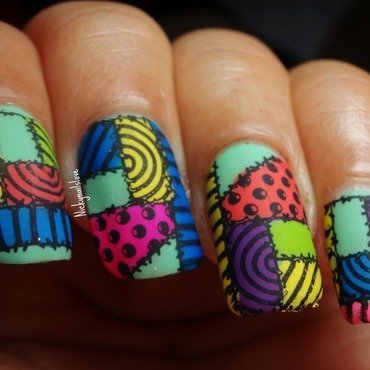 Patchwork nail art by Nicky