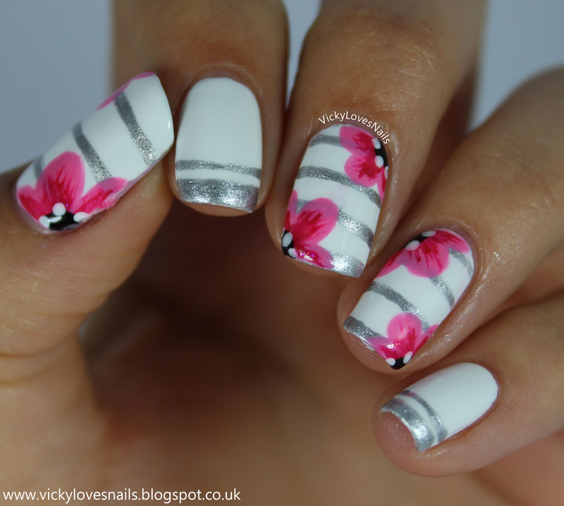 Pink Flowes and Silver Stripes nail art by Vicky Standage