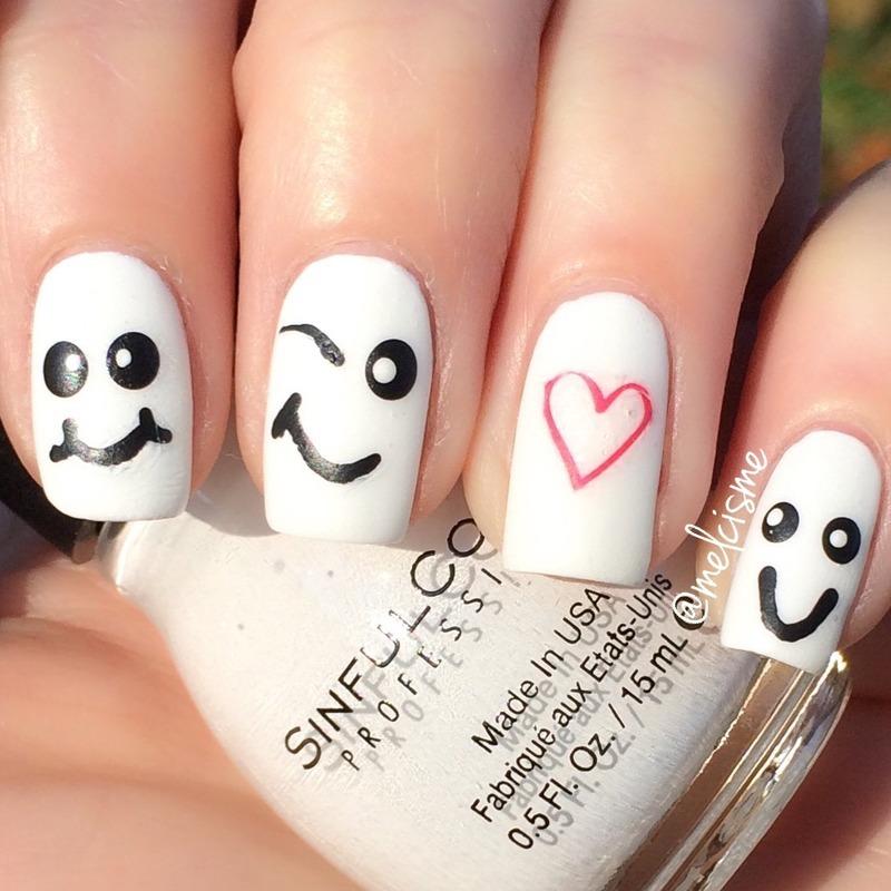 Happy Faces nail art by Melissa