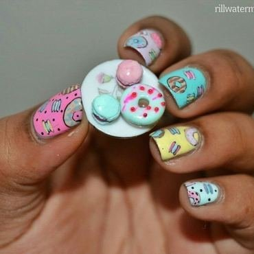 donut and macaron nails nail art by tyler cannida