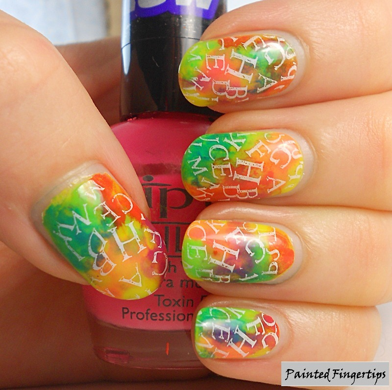 Lettering over a neon base nail art by Kerry_Fingertips