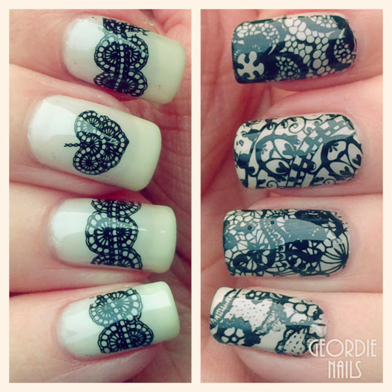 Chic Lace Stamping Nails nail art by Born Pretty