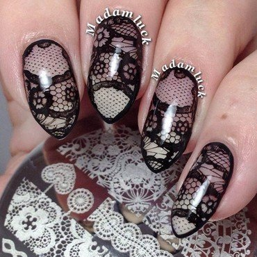 Awesome Lace Stamping Nails nail art by Born Pretty