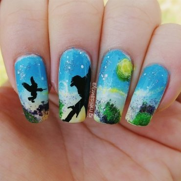 Peterpan in wonderland nail art by melisa viriya