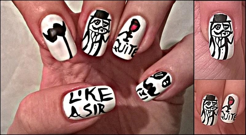 Movember Nail Art: Like A Sir nail art by Mila
