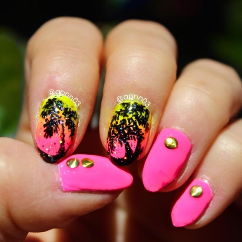 LA Sunset nail art by Amanda