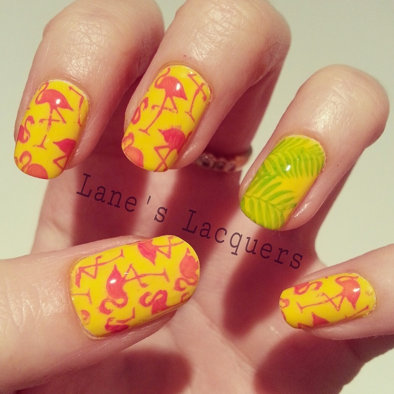 Tropical Flamingos nail art by Rebecca