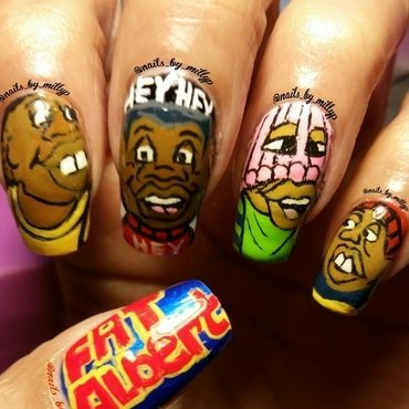 Fat Albert and the gang nail art by Milly Palma