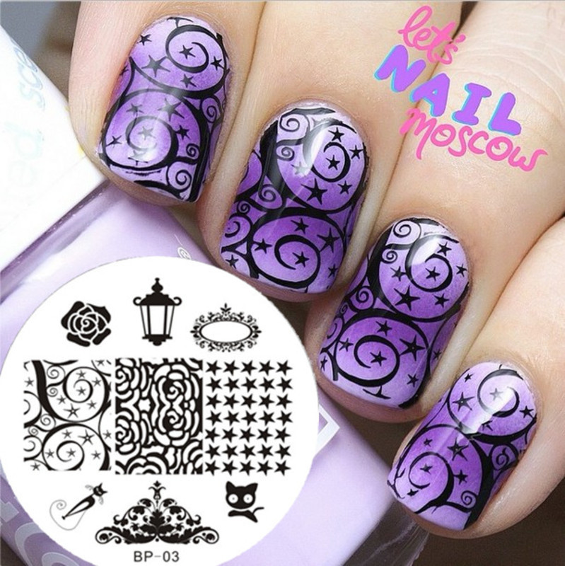 Gradient Purple Arabesque Star Stamping Nails  nail art by Born Pretty