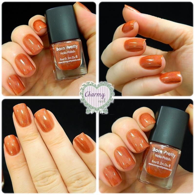 Shimmer Orange Holo Nails nail art by Born Pretty