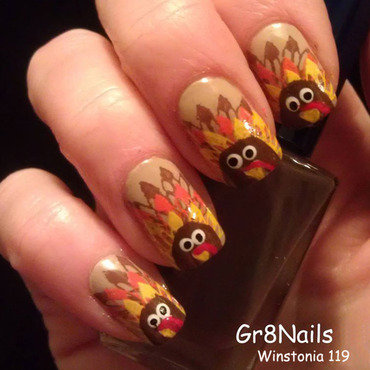 Time for Turkey nail art by Gr8Nails