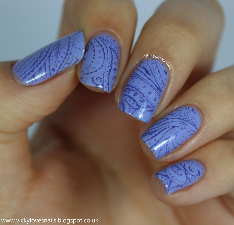 Stamping with Born Pretty Store Plate BP10 nail art by Vicky Standage
