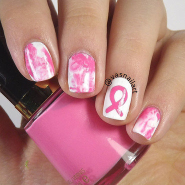 Breast Cancer Awareness nail art by  Vanesa