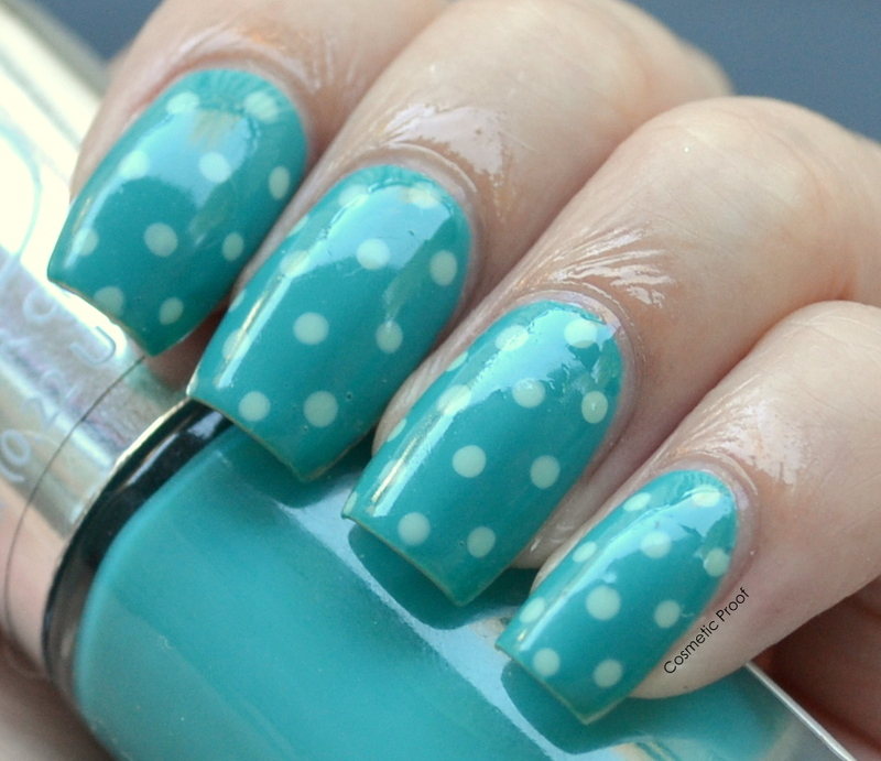 Green Polka Dots nail art by Jayne