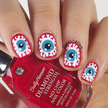 Bloody Eyes nail art by  Vanesa