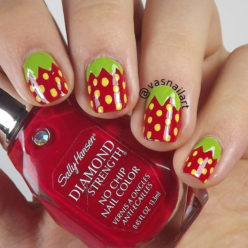 Strawberry nail art by  Vanesa