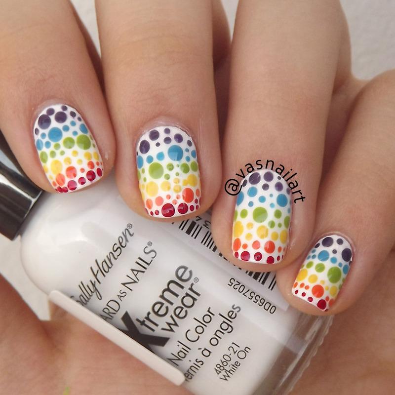 Rainbow Dotticure nail art by  Vanesa