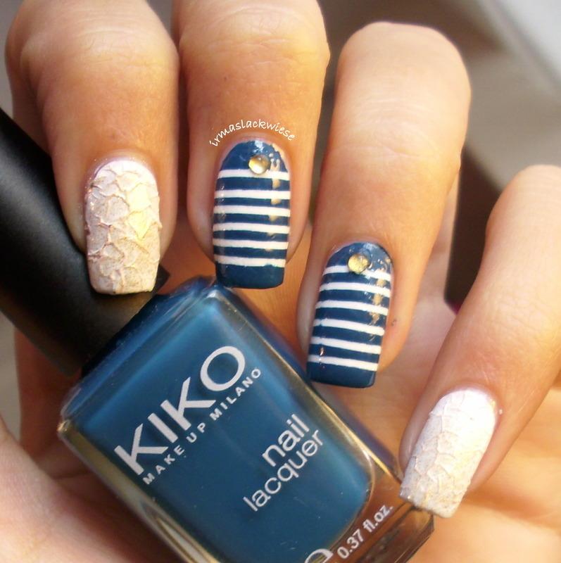 Navy & mermaid  nail art by irma