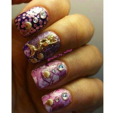 Mermaid potion purple #5 nail art by Milly Palma