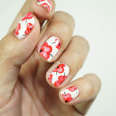 Pretty Poppies nail art by Rina Alcantara
