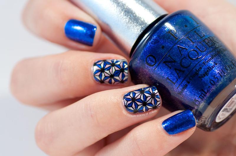 Blue geometric stamping decal nails nail art by Zara TracesOfPolish