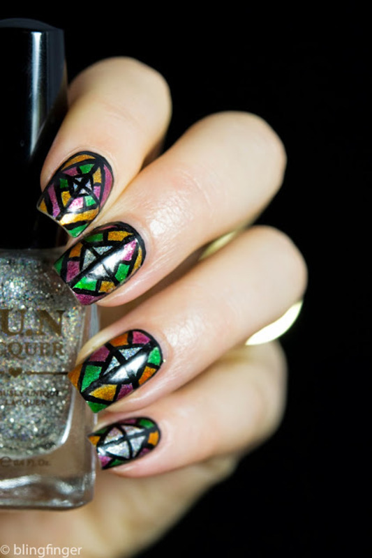 Stained Glass nail art by  Petra  - Blingfinger